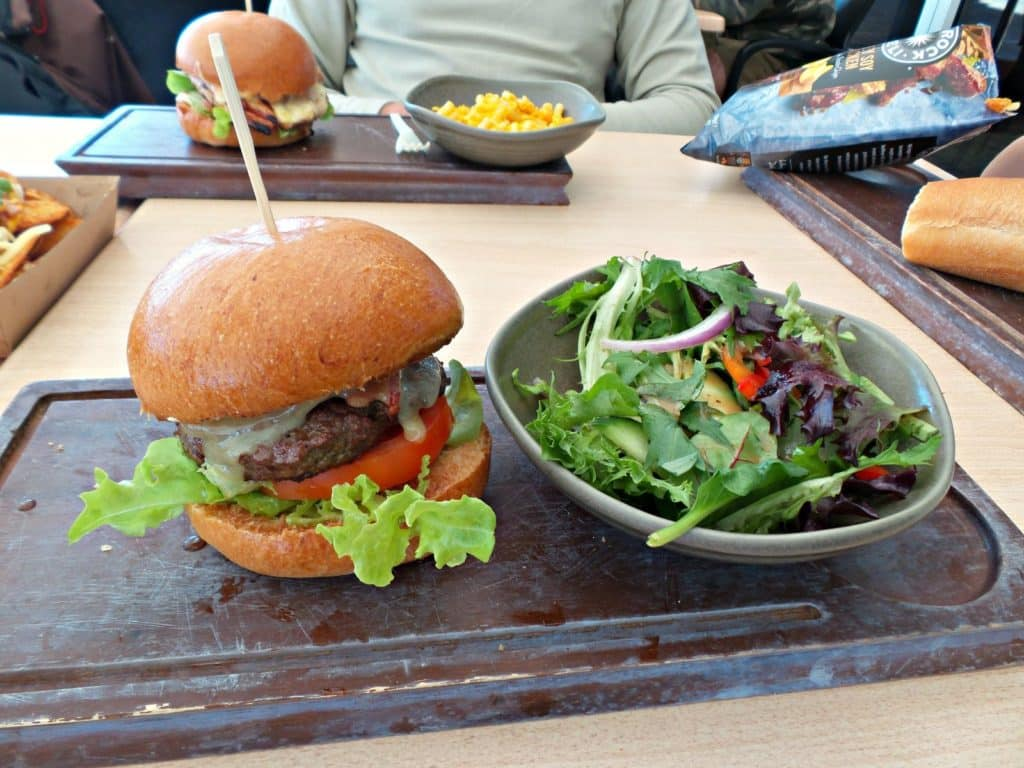 Lunch of burgers at the beach bbq at Tangalooma Island Resort, Moreton Island