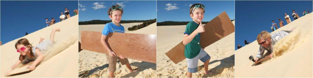Collage of images of people on a desert safari at Tangalooma Island Resort, Moreton Island