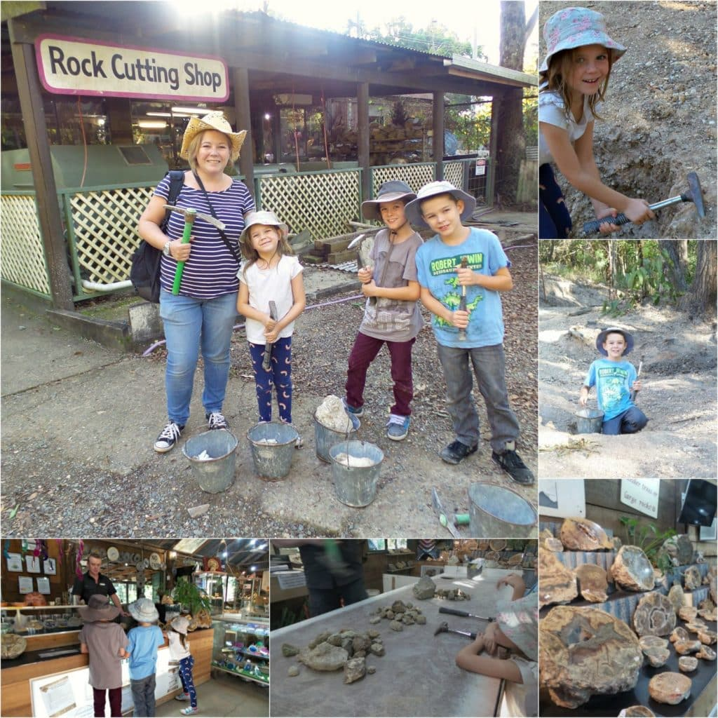 A collage of images thunderegg fossicking at Thunderbird Park Thundermine at Tamborine Mountain