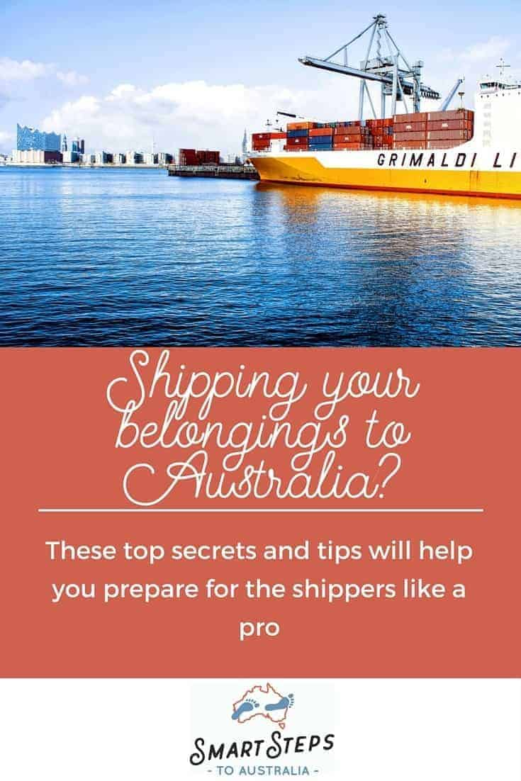 Pinterest image - how to ship your things to Australia - Smart Steps to Australia
