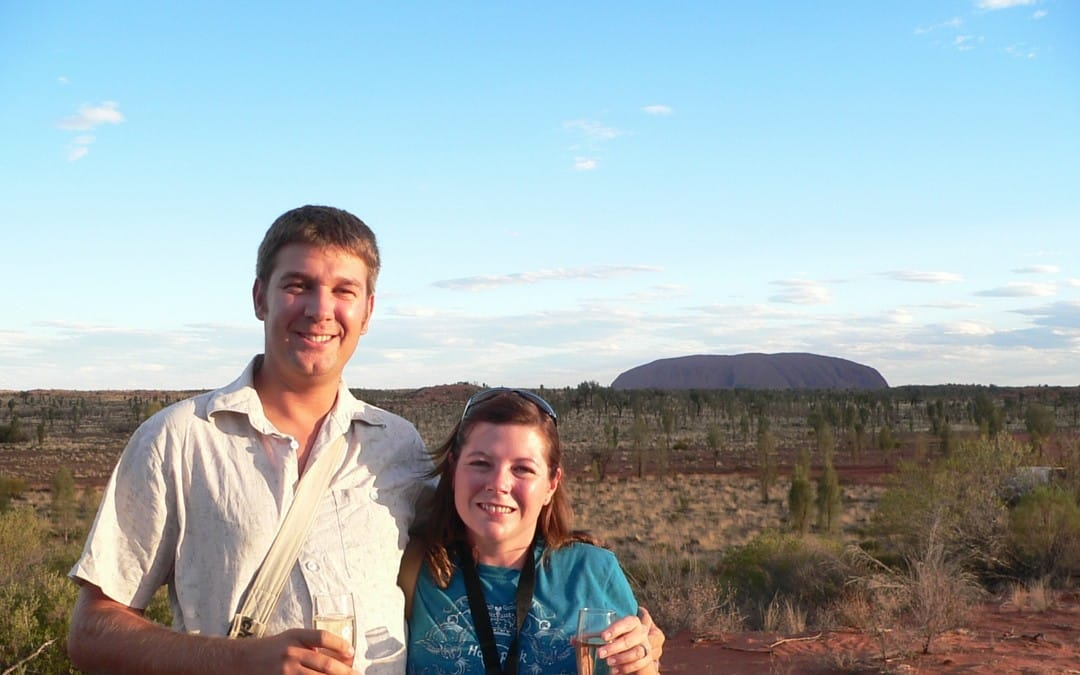 Karen Bleakley in front of Uluru - image for Smart Steps to Australia