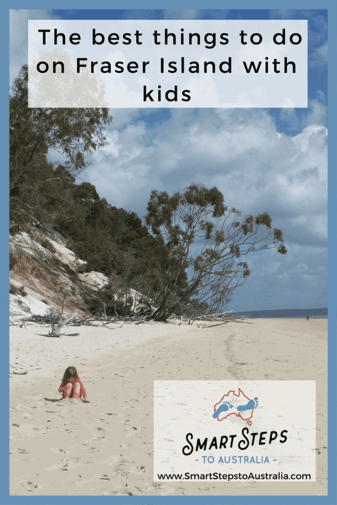 Pinterest image of a child on the beach on Fraser Island - Fraser Island for kids