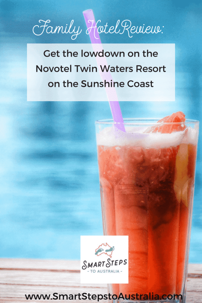 Pinterest image to promote review of Novotel Twin Waters Resort on the Sunshine Coast