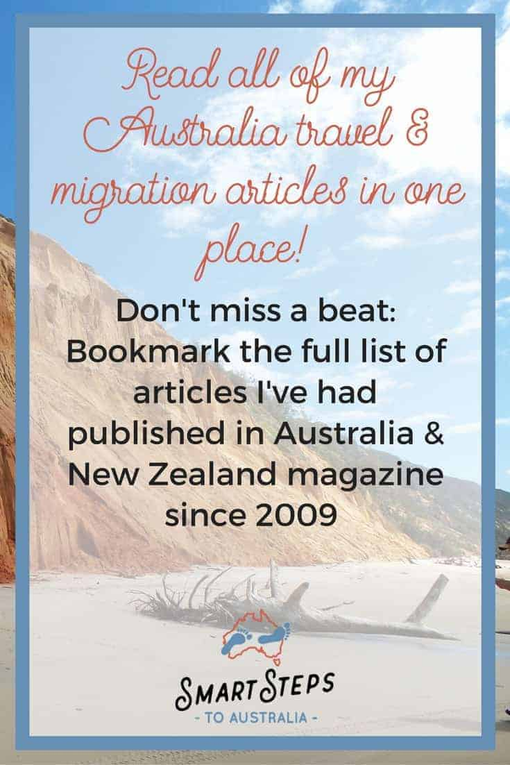 Pinterest images to promote Australia and New Zealand magazine travel and migration articles