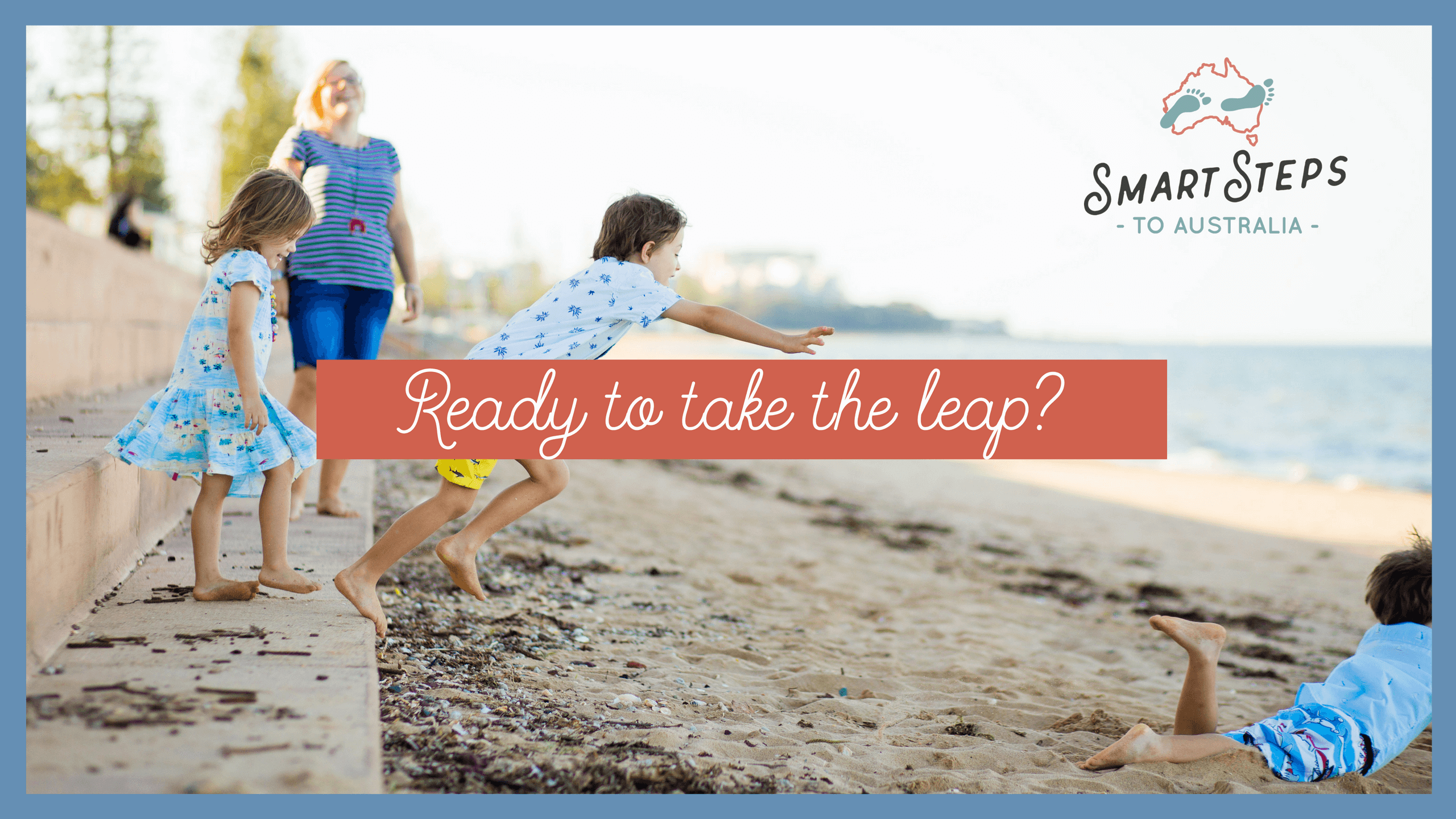 Kids on a beach jumping - Emigrate to Australia in six easy steps