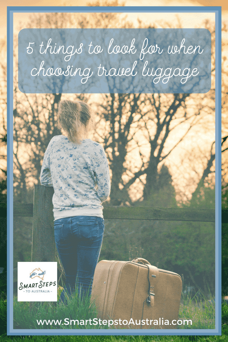 Pinterest image of woman with suitcase - what to look for when choosing travel luggage