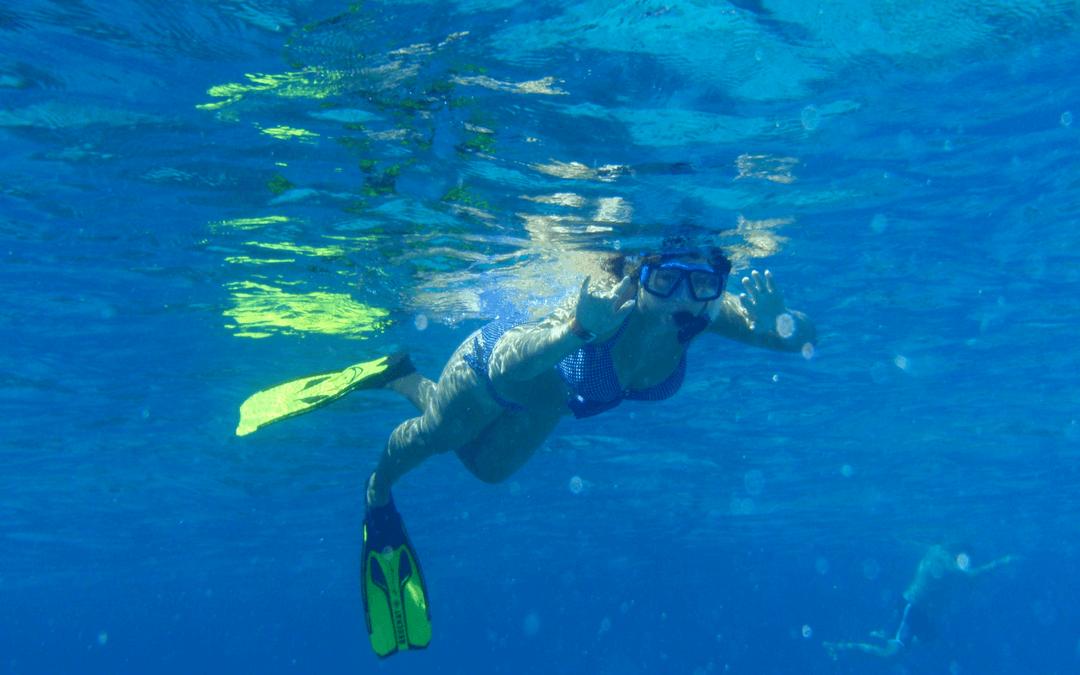 Karen Bleakley snorkelling at Ningaloo Reef, Western Australia