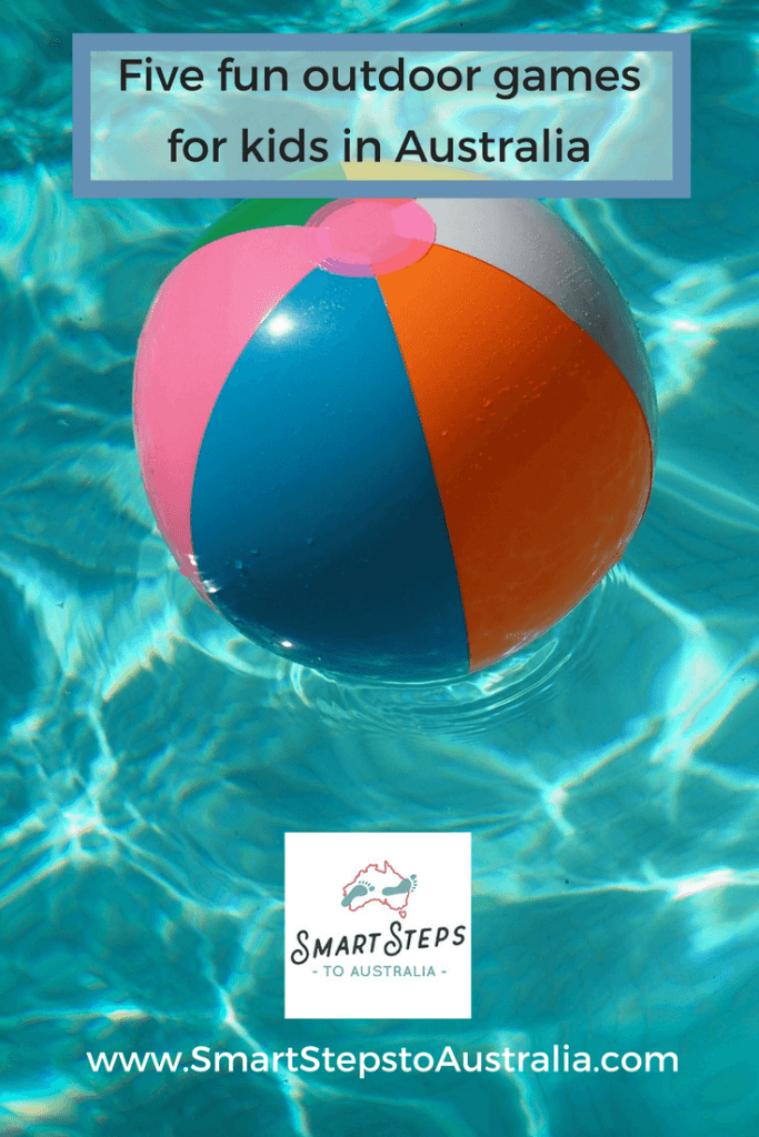Pinterest graphic - a beach ball in pool promoting 5 Australian games for kids