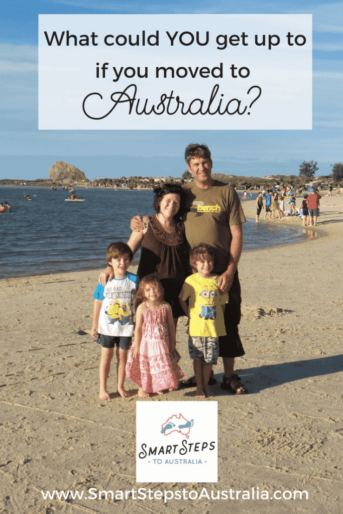 A Pinterest image of family who moved to Australia