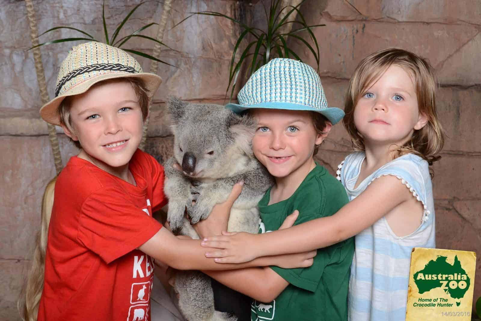 Three kids at Australia Zoo making memories