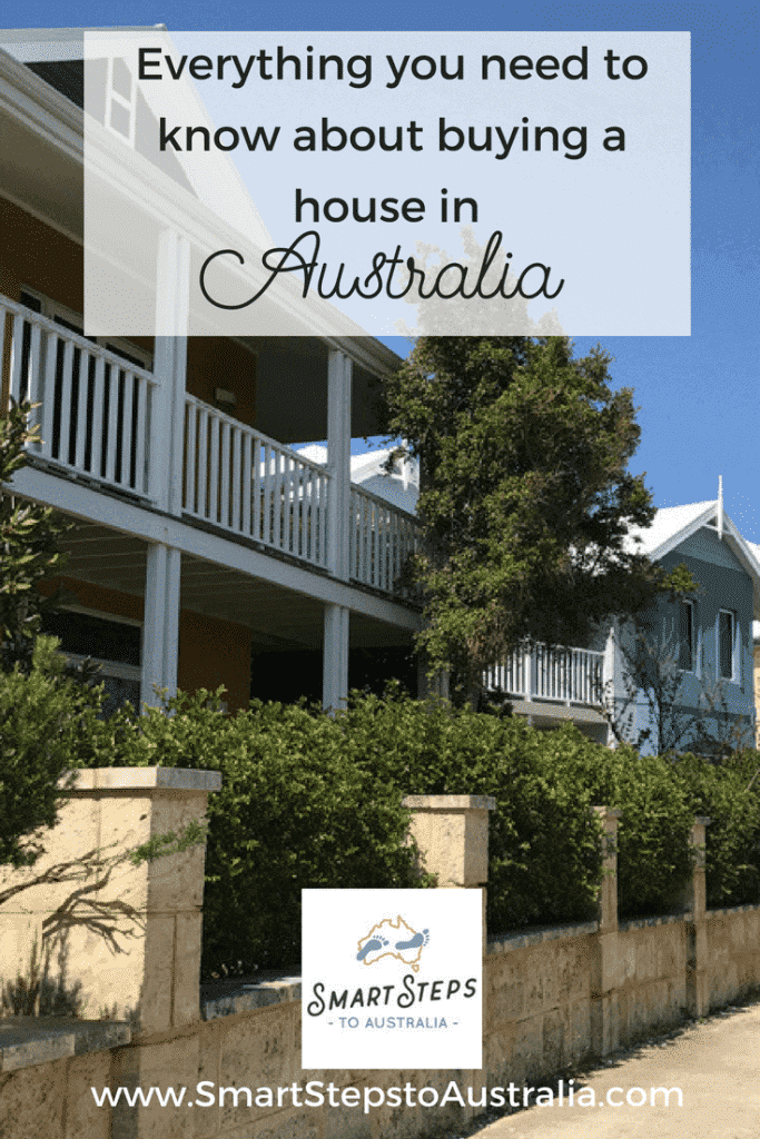Pinterest images - steps to buying a house in Australia with house pictures in the background