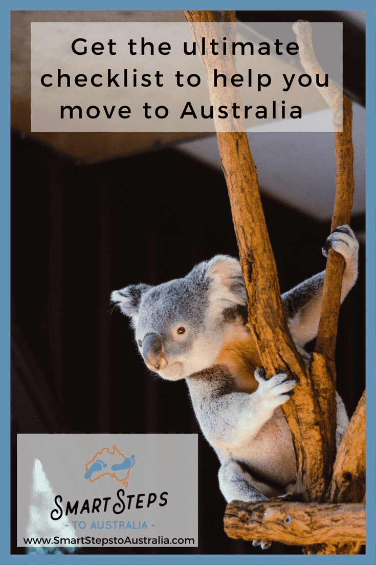 Pinterest image with a koala promoting a moving to Australia checklist