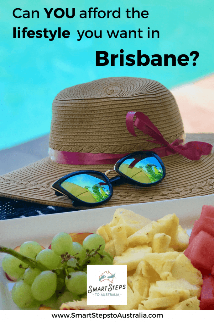 Pinterest image: Can you afford the lifestyle you want in Brisbane with a pool and sunglasses