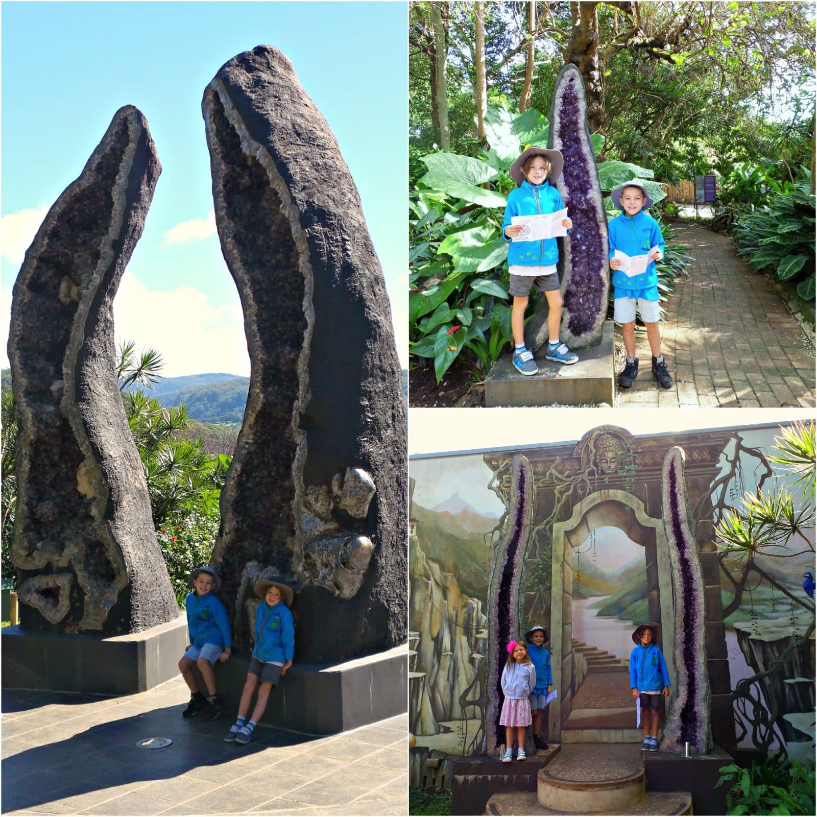 A collage of pictures of kids at Crystal Castle Byron Bay