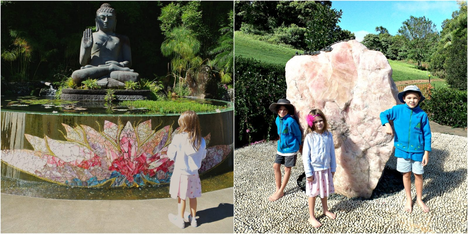 A collage of pics of kids at Crystal Castle Byron Bay