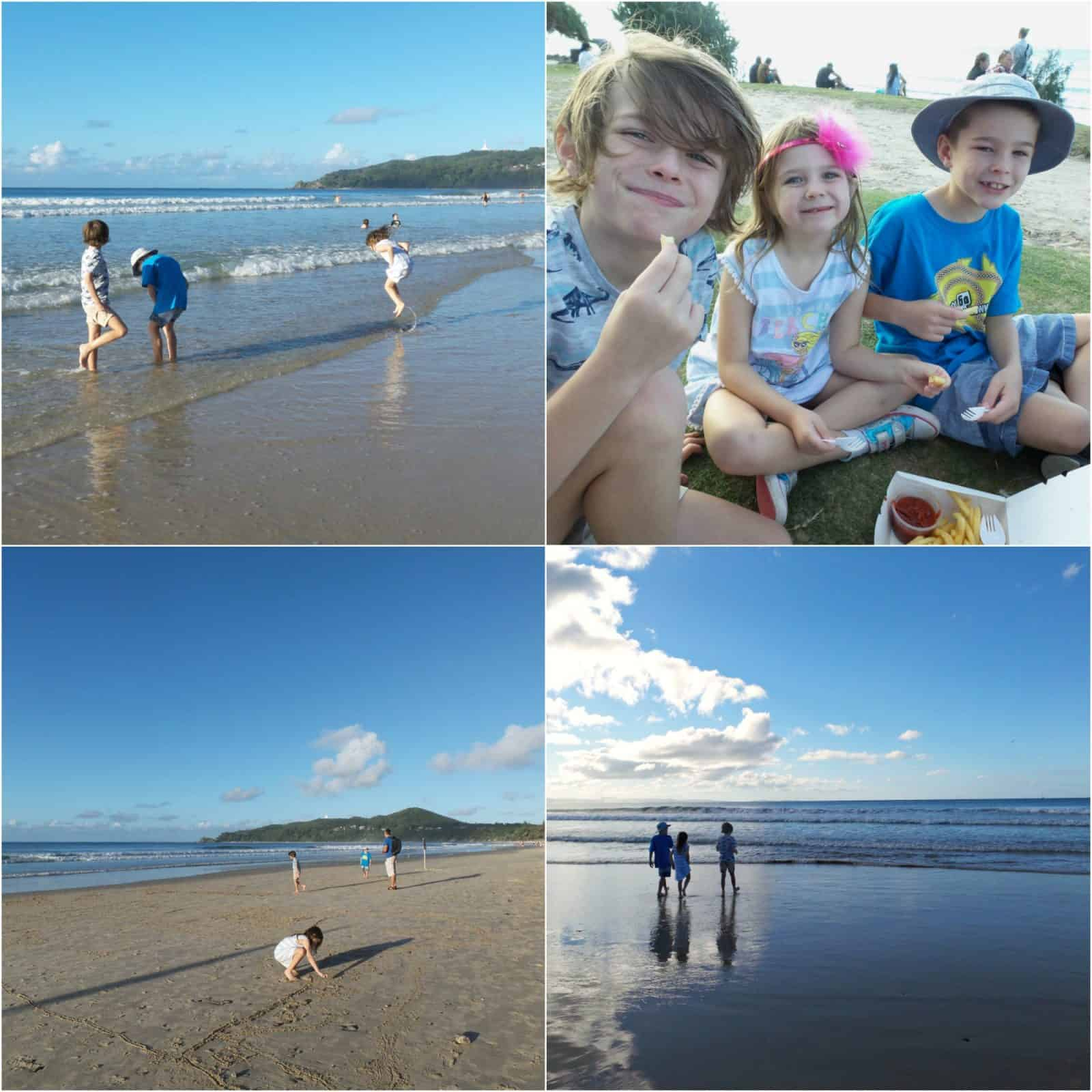 Kids on the beach at Byron Bay