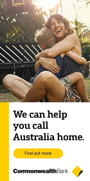 Commonwealth bank advert with mum hugging a child