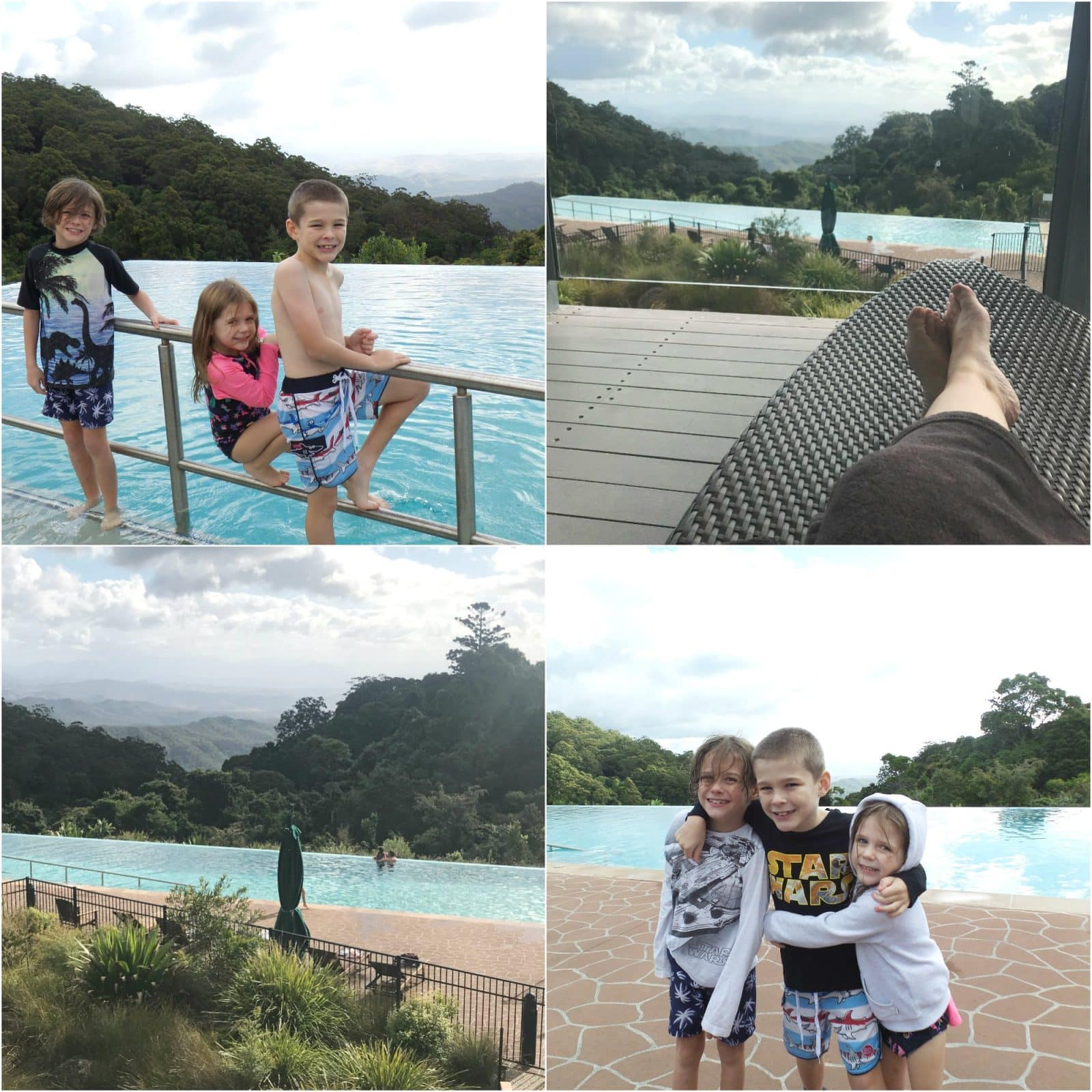 Collage of pictures of the infinity pool at O'Reilly's Rainforest Retreat