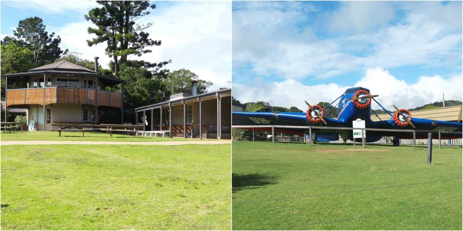Exterior shot of O'Reilly's Rainforest Retreat and of a replica plane that is outside in the grounds