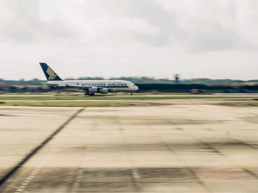 A Singapore Airlines plane taking off
