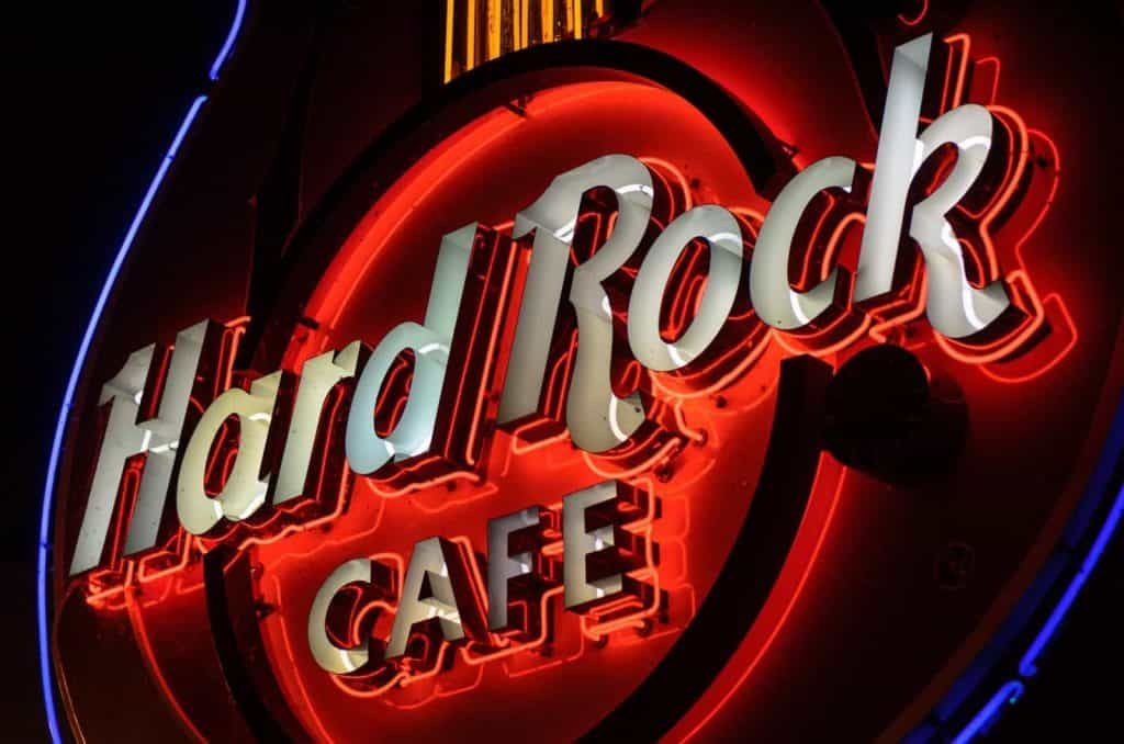 Hard Rock cafe logo in neon