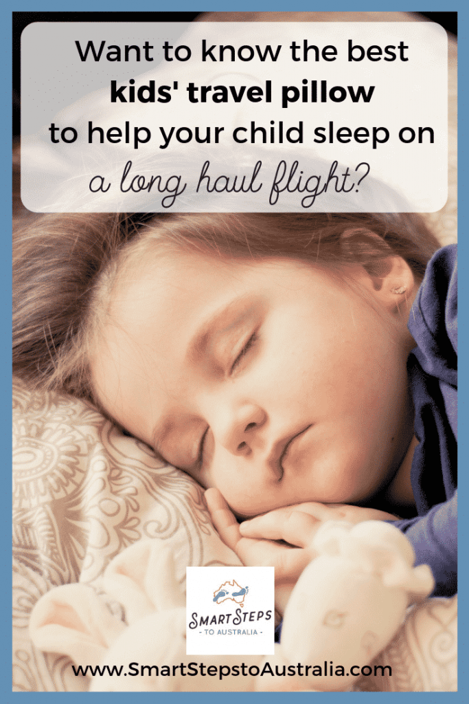 Pinterest image of a child sleeping on a plane on a kids' travel pillow