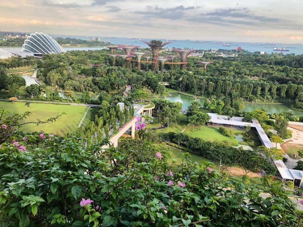 Aerial view of the Gardens by the Bay in Singapore