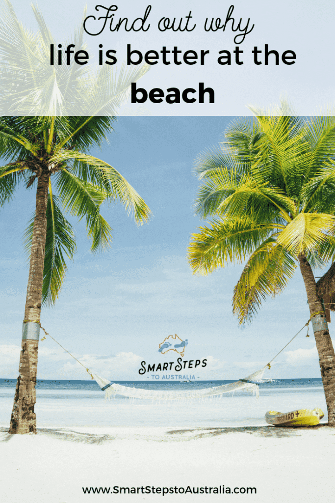 Pinterest image of palm trees with the words Find out why life is better at the beach