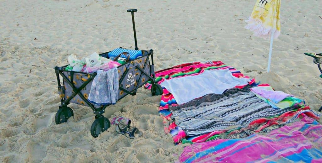 A Buddy Wagon beach cart at the beach