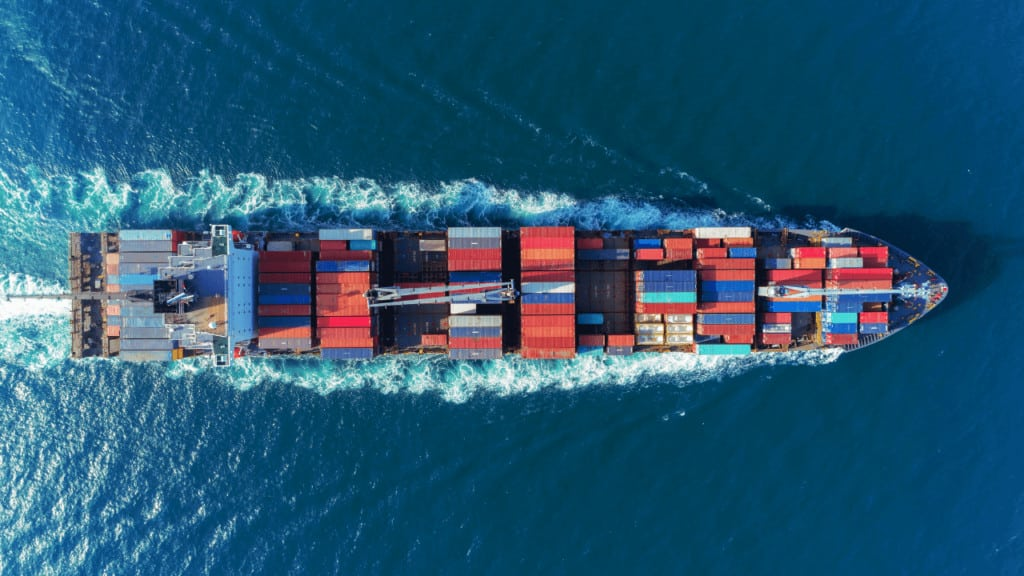 A shipping container on the way to Australia