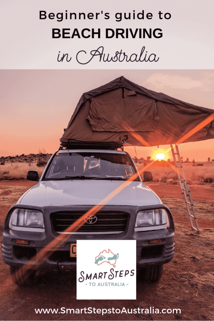 Pinterest image of an off road 4WD with tent as the sun is setting