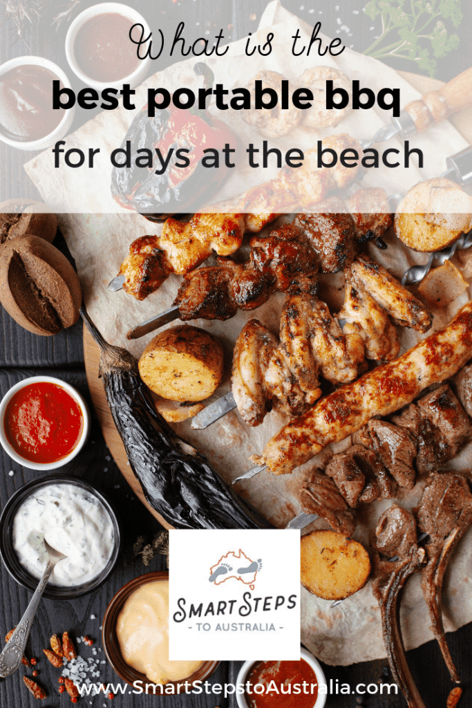Pinterest image of bbq food with text what is the best portable bbq for days at the beach