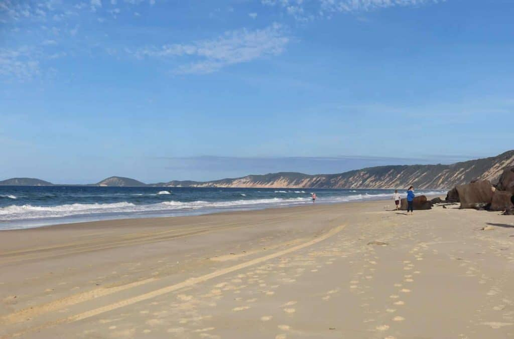 A beach shot of Rainbow Beach on Australia's East Coast