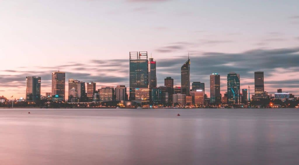 Perth skyline across the Swan River