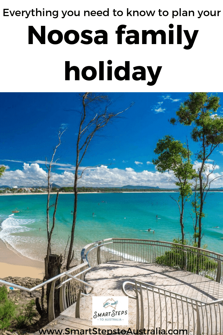 Pinterest image with view of the ocean at Noosa from the Boardwalk for how to plan your Noosa family holiday