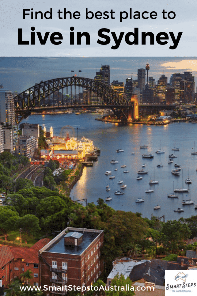 Pinterest image - view of Sydney Harbour with text find the best place to live in Sydney