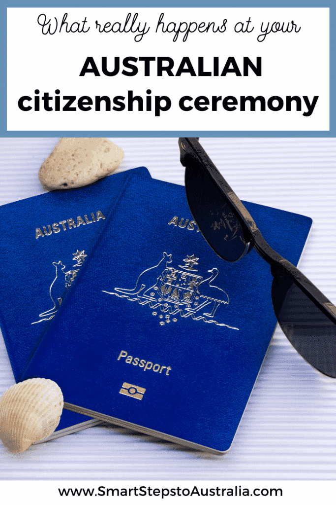 Pinterest image: What really happens at your Australian citizenship ceremony with a picture of Australian passports