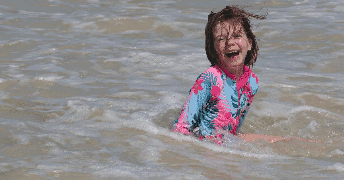 A girl in the ocean