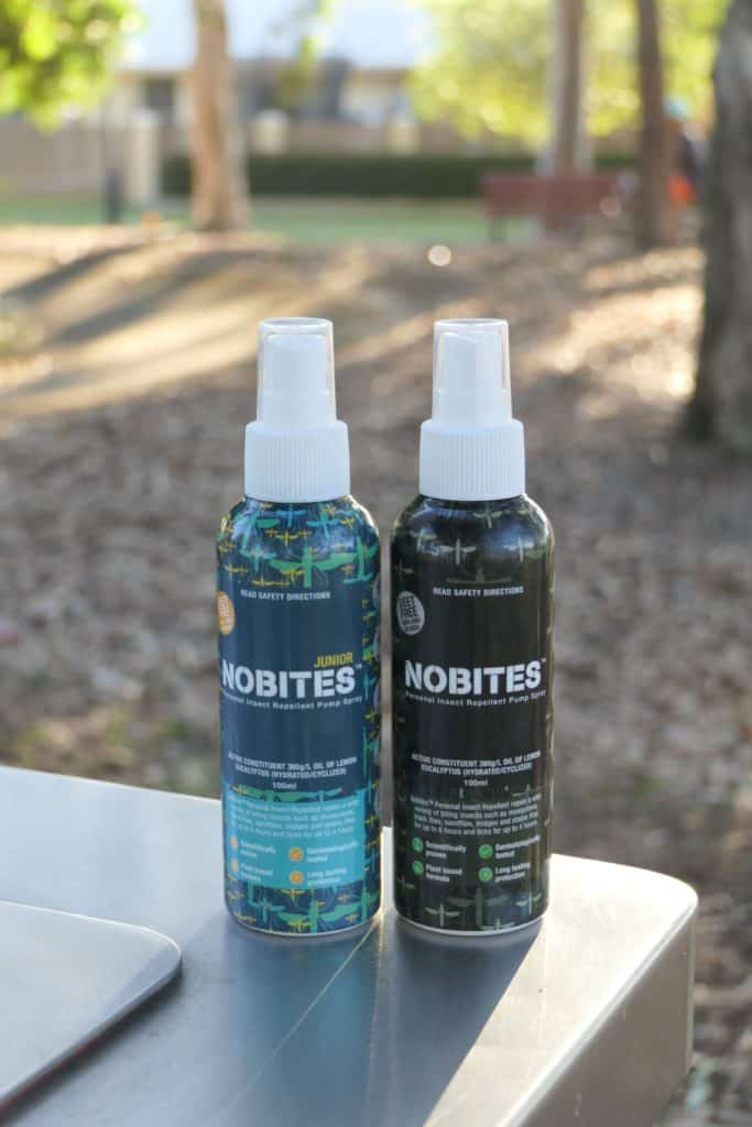 NoBites mosquito repellent bottles at a park in Australia