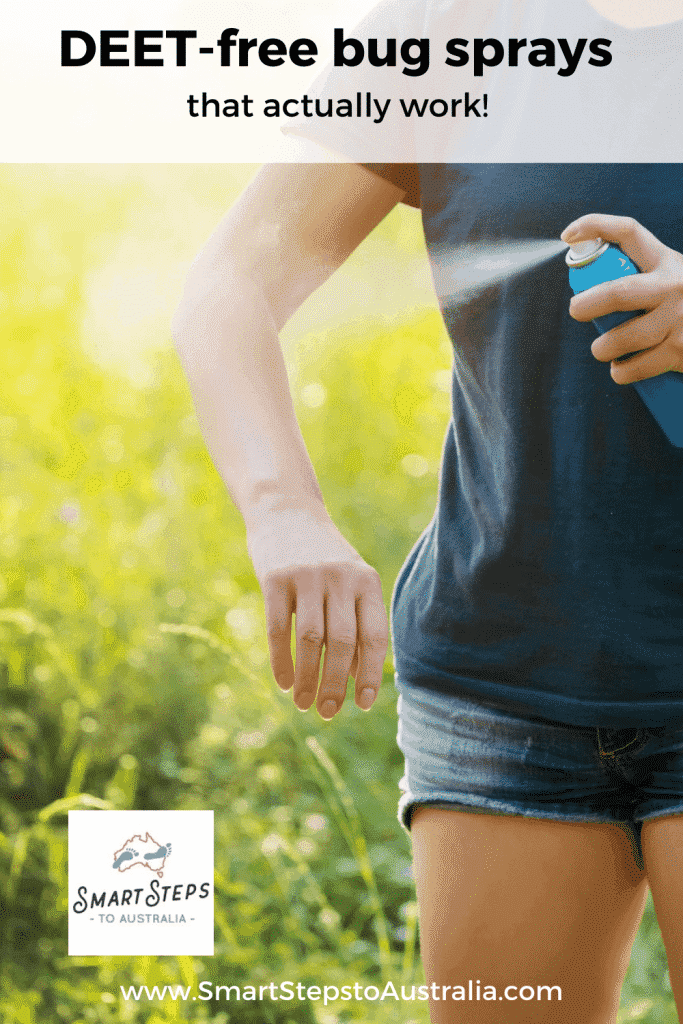 A Pinterest image of a lady spraying insect repellent on her harm with the text: DEET-Free bug sprays that really work