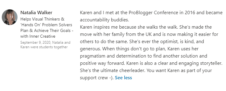 Written testimonial from LinkedIn for Karen Bleakley