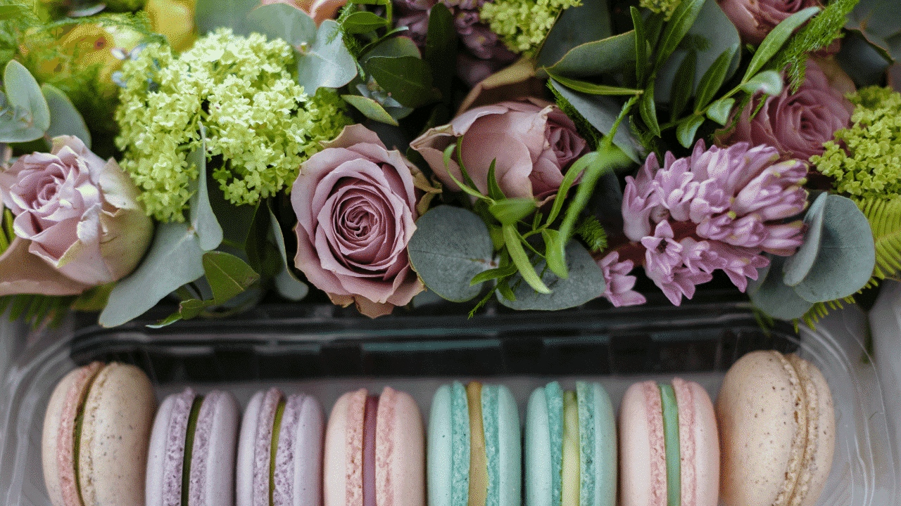 Flowers and macaroons for Mother's Day gifts