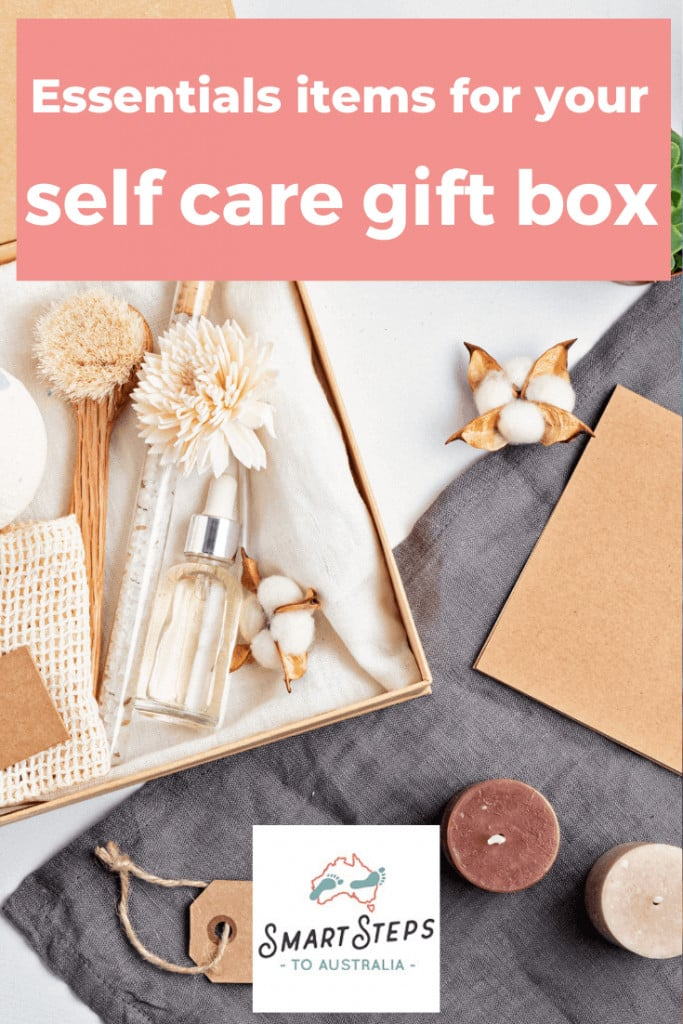 Pinterest image: Essential items for your self care gift box with a picture of self care items in a box