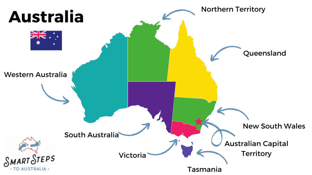 A map of Australia showing Australian territories and states