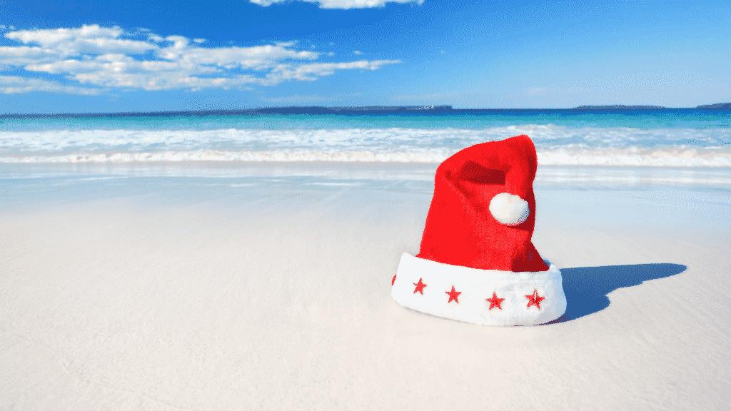 Christmas hat on a beach in Australia